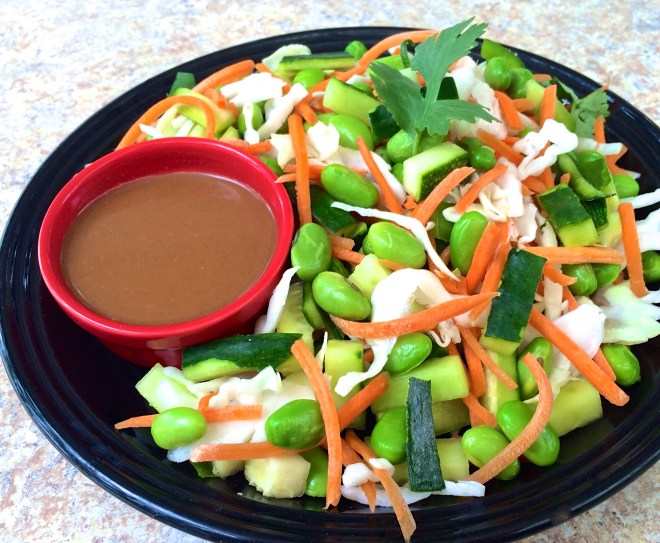 Thai Crunch Salad is a great way to use the zucchini and cucumbers from your garden.