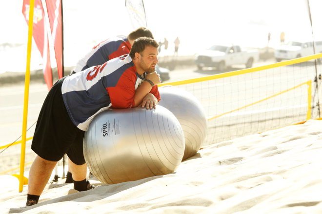 """Matt Miller competes in a challenge on """"The Biggest Loser."""""""
