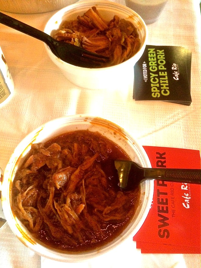 Taste-testing Cafe Rio's signature Sweet Pork Barbacoa against is new Spicy Green Chile Pork.