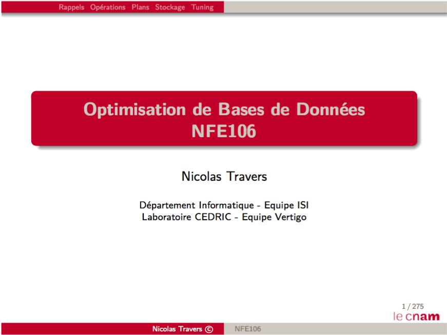 Transparents / Optimisation de bases de données