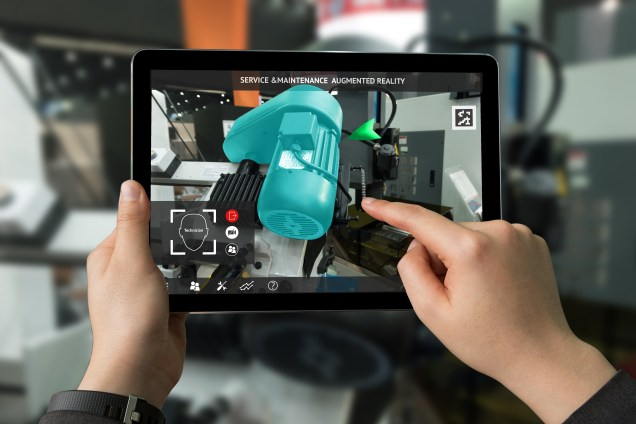 Augmented reality machinery shown on an ipad.