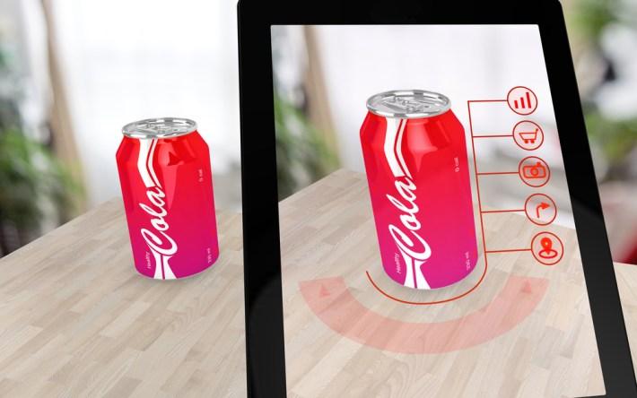 AR scanning of soda can through an iPad.
