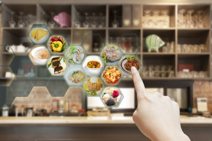 AR selection of food with hand tracking.