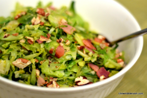 Sauteed Shredded Brussels Sprouts with Ham and Toasted Pecans - Chew Nibble Nosh