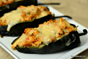 Poblanos Stuffed with Cheddar and Chicken - Chew Nibble Nosh