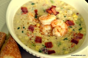 Bacon-Corn Chowder with Shrimp - Chew Nibble Nosh