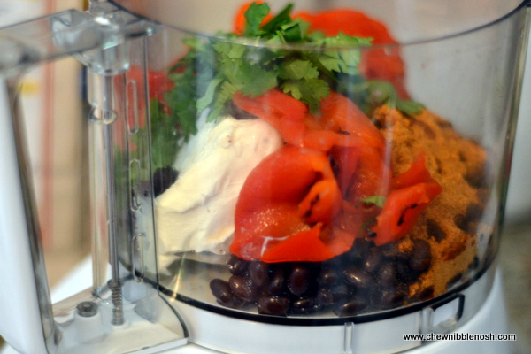 Creamy Roasted Red Pepper and Black Bean Dip 2 - Chew Nibble Nosh