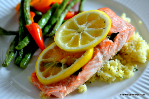 Parchment Baked Salmon with Lemon and Basil - Chew Nibble Nosh