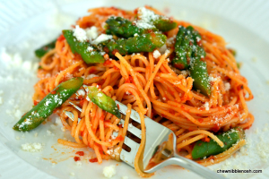 Angel Hair Pasta with Roasted Red Pepper Sauce - Chew Nibble Nosh