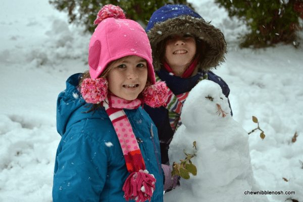 The girls and their first snowman of the season.