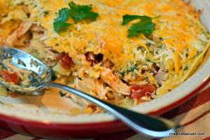 Stacked Chicken Enchiladas - Chew Nibble Nosh