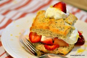 Lemon Poppyseed Strawberry Shortcakes with Lemon Devonshire Cream - Chew Nibble Nosh