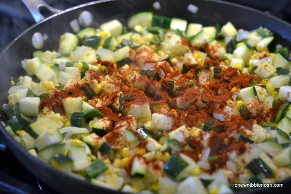 Skillet Summer Vegetable Tamale Pie 2 - Chew Nibble Nosh