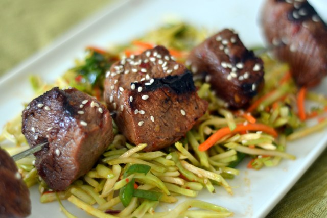 Quick Asian Steak Kebabs with Broccoli Slaw