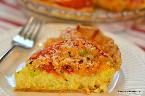 Tomato and Corn Custard Pie - Chew Nibble Nosh