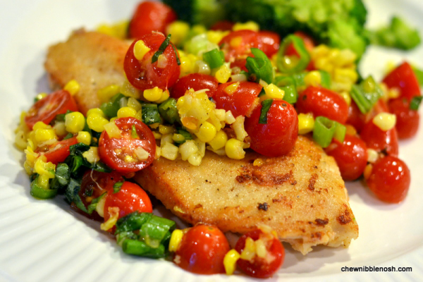 Chicken Paillards with Tomato, Basil and Roasted Corn Relish - Chew Nibble Nosh