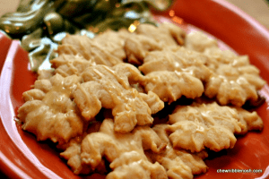 Spiced Brown Butter Spritz Cookies with Salted Caramel Glaze - Chew Nibble Nosh #OXOGoodCookies