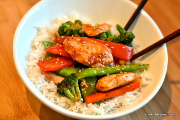 Sesame Chicken Stir Fry - Cooking with McCormick Skillet Sauces  - Chew Nibble Nosh