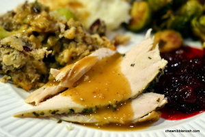 Herb Butter Roasted Brined Turkey - Chew Nibble Nosh #OXOTurkeyDay