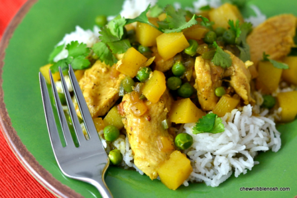 Chicken with Potatoes, Peas & Coconut Curry Sauce - Chew Nibble Nosh
