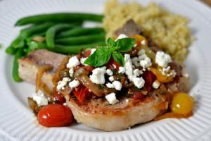 Pork Chops with Fresh Tomato, Onion, Garlic, and Feta - Chew Nibble Nosh