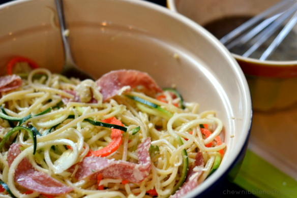 Spiralized Italian Pasta Salad - Chew Nibble Nosh 4