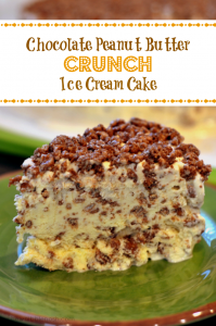 Chocolate Peanut Butter Crunch Ice Cream Cake - Chew Nibble Nosh