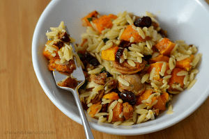 Chicken Sausage with Roasted Butternut Squash and Orzo - Chew Nibble Nosh.