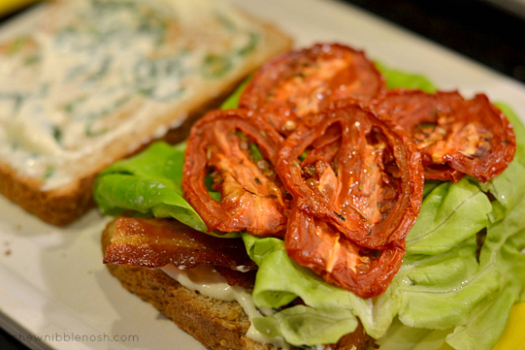 Slow Roasted Tomato BLTs with Basil Mayo - Chew Nibble Nosh 4