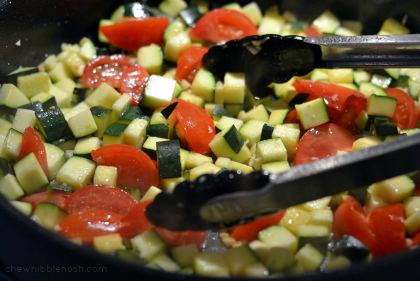 Mediterranean Chicken Skillet with Zucchini, Chickpeas, Olives and Tomatoes - Chew Nibble Nosh 3