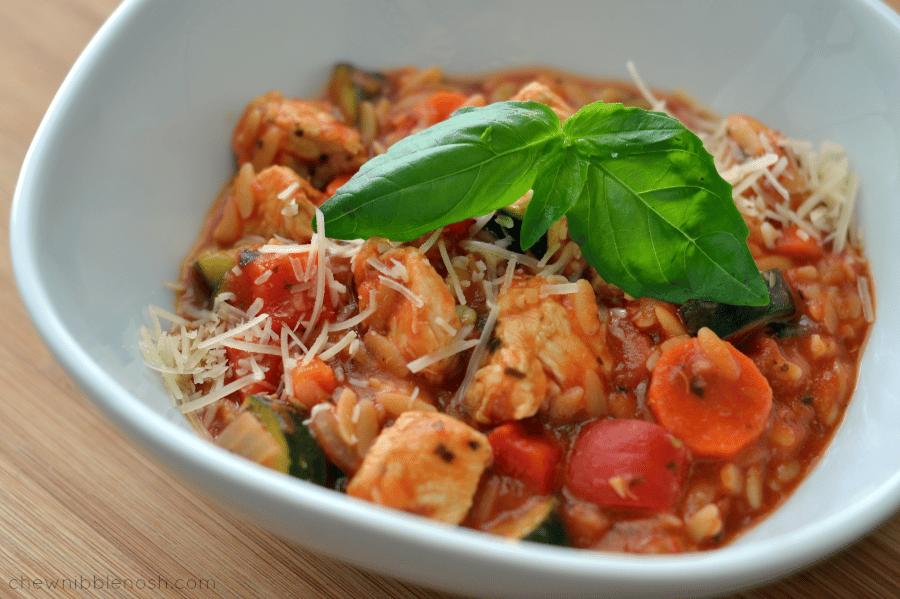 One Pot Italian Chicken & Orzo Stew