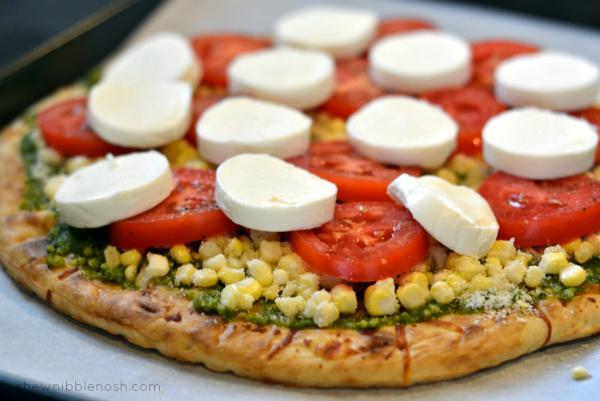 Sweet Corn, Tomato and Pesto Pizza - Chew Nibble Nosh 4