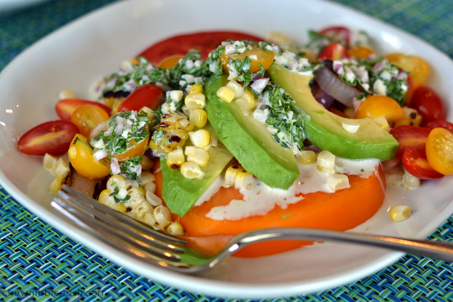 Summer Tomato Farmstand Salad with Creamy Herbed Dressing