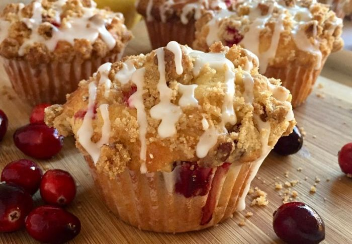 Cranberry Muffins with Walnut Streusel and Lemon Glaze