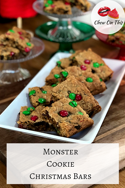 Monster Cookie Christmas Bars | Soft, chewy chocolate chip, peanut butter, oatmeal cookie bars with M&Ms and Oreos inside!