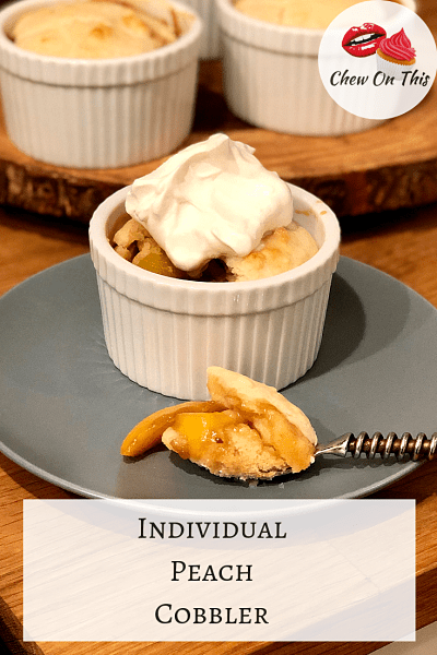 Individual Peach Cobbler   Sweet peaches baked with brown sugar and topped with a soft biscuit...yes please!