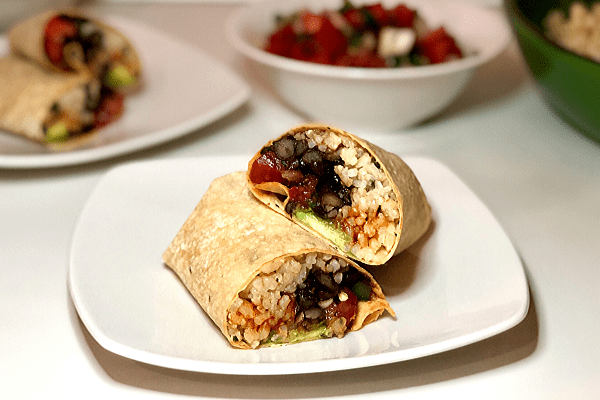 Vegan Burrito with Black Beans and Cilantro Lime Rice