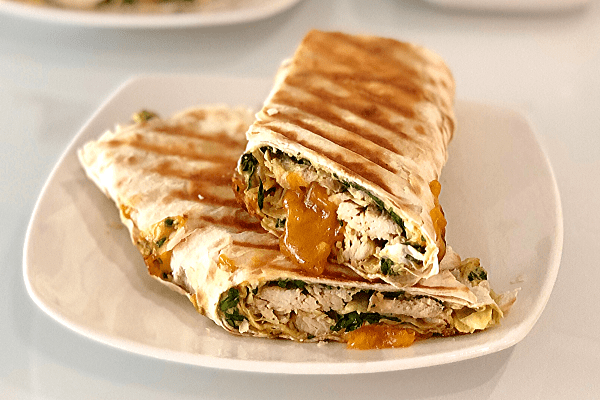 Spinach Artichoke Chicken Wraps