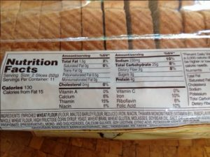This loaf shows 1 serving = 2 slices. Therefore each slice contains 115 mg sodium, and 65 calories.