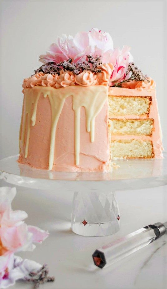 Pink Champagne White Chocolate and Rose Layer Cake  Chew