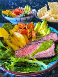 Quick and easy steak fajita salad with a cilantro lime vinaigrette