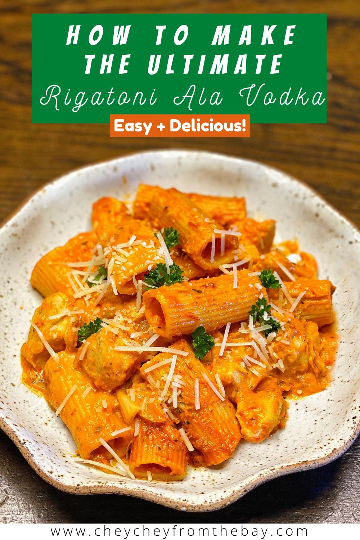 Enjoy this super easy, delicious rigatoni ala vodka recipe with chicken.