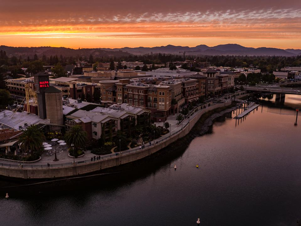 Downtown Napa at sunset.