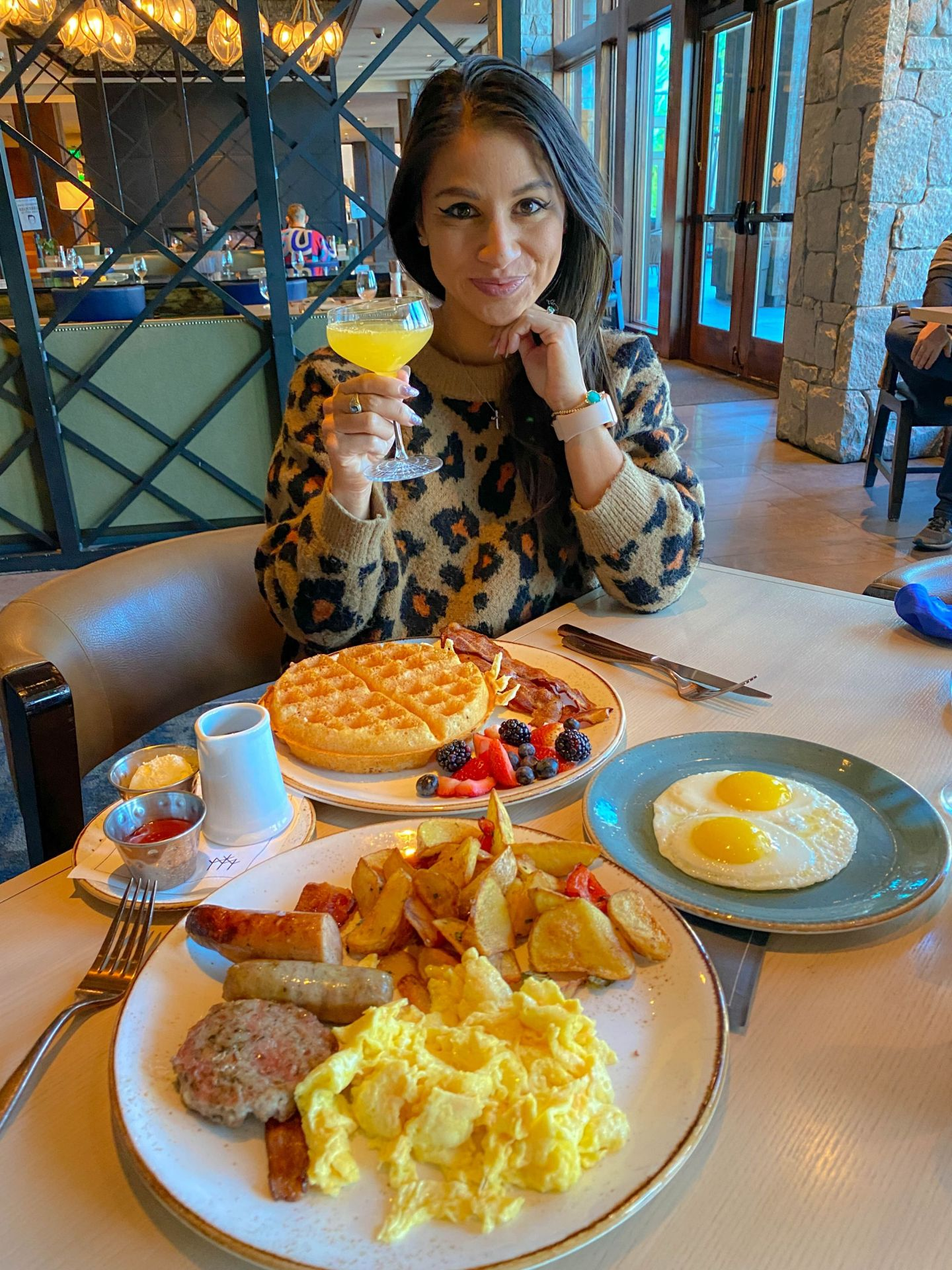 An elegant breakfast at The Bistro Bar at Edgewood Tahoe with a view of the country's biggest alpine lake.