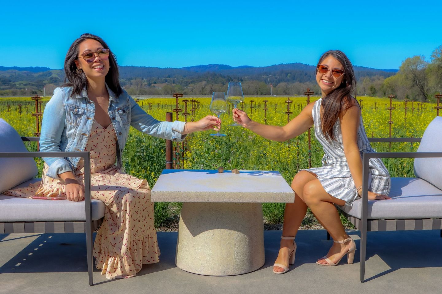 Drinking wine in Sonoma County.