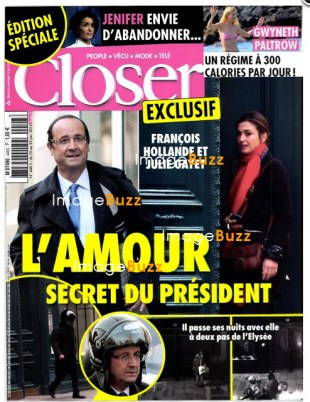 "French President Francois Hollande having affair with French actress Julie Gayet. The French weekly tabloid Closer printed an edition featuring seven pages of revelations and pictures on the 59-year-old President's alleged relationship with Julie Gayet. Mr Hollande condemned the coverage as an ""attack on the right to privacy"" and said he was considering legal action against Closer. The story follows months of swirling rumours. Closer, echoing reports published on various websites in recent days, says Mr Hollande routinely drives through Paris on his scooter to spend the night with his 41-year-old mistress. France, January 12, 2014."
