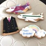 飛行機アイシングクッキー, パイロットアイシングクッキー, peachアイシングクッキー, zip