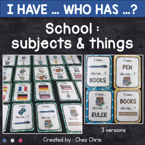 I have who has - School supplies and subjects