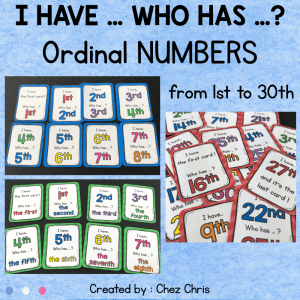I Have Who Has Game : Ordinal Numbers from 1st to 30th
