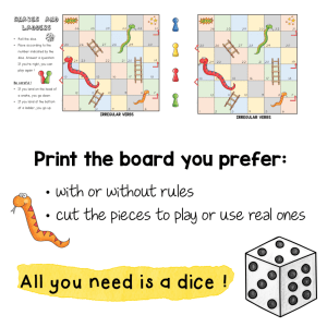 Irregular Verbs – Snakes and Ladders
